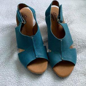 Clarks heel wedge sandals size 7